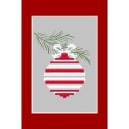 Zestaw z muliną - Kartka bożonarodzeniowa - Bombka na gałązce