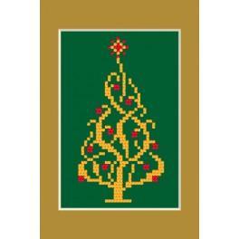 ZI 4948-02 Zestaw do haftu z muliną i koralikami - Kartka świąteczna - Błyszcząca choinka