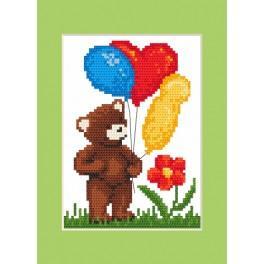 Zestaw z muliną, koralikami i kartką - Kartka urodzinowa - Miś z balonikami
