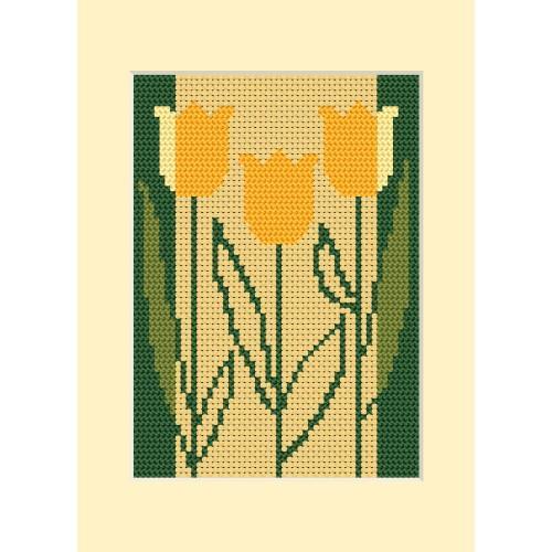 Zestaw z muliną, koralikami i kartką - Kartka urodzinowa - Trzy tulipany