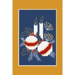 ZI 4949-01 Zestaw do haftu z muliną i koralikami - Kartka świąteczna - Świąteczne bombeczki