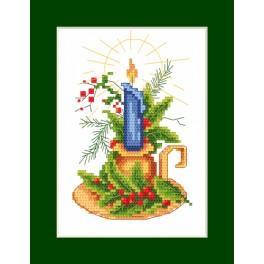 ZI 8294 Zestaw do haftu z muliną i koralikami - Kartka świąteczna - Kartka ze świecą