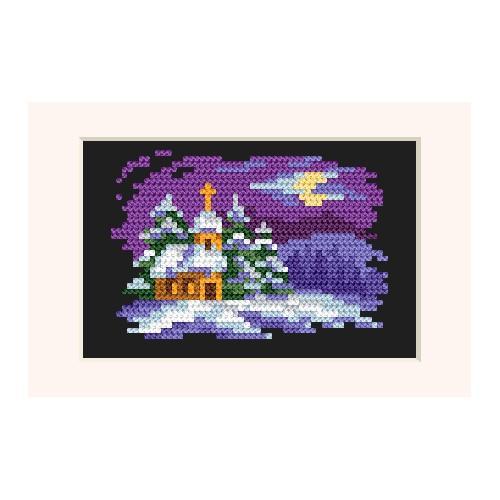 Zestaw z muliną - Kartka świąteczna - W blasku księżyca
