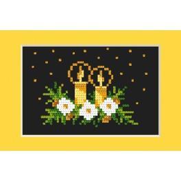 Zestaw z muliną - Kartka świąteczna - Złoty blask