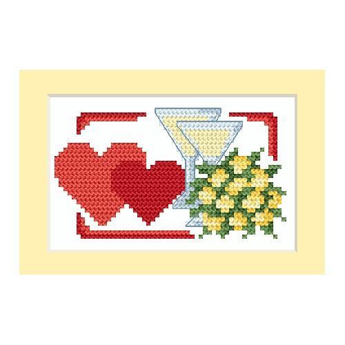 Zestaw z muliną - Kartka ślubna - Dwa serca