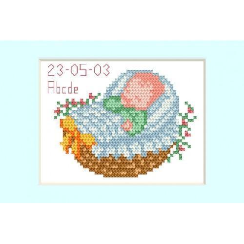 Zestaw z muliną - Kartka - Dzień narodzin - Niebieski