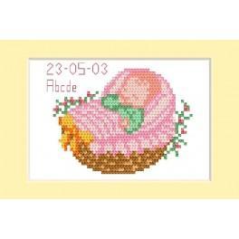 ZU 2005-01 Zestaw do haftu - Kartka - Dzień narodzin - Różowy