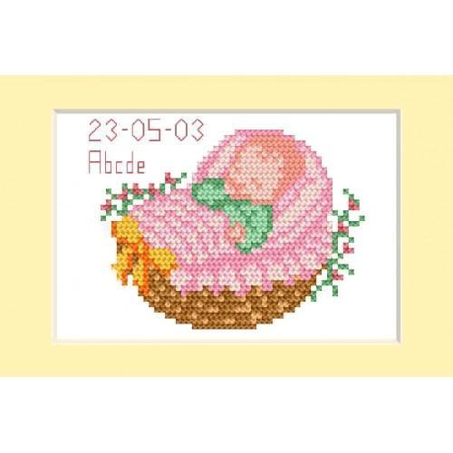 Zestaw z muliną - Kartka - Dzień narodzin - Różowy