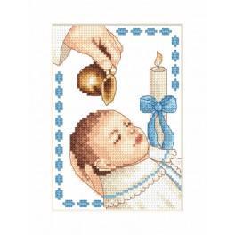 Zestaw z muliną i kartką - Kartka - Chrzest chłopczyka