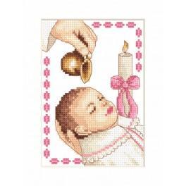 Zestaw z muliną - Kartka - Chrzest dziewczynki