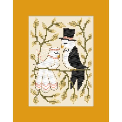 Zestaw z muliną - Kartka ślubna - Zakochane gołąbki