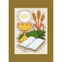 ZU 8418 Zestaw z muliną - Kartka komunijna - Biblia i kłosy