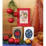 Zestaw z muliną - Kartka świąteczna - Kartka z aniołkiem
