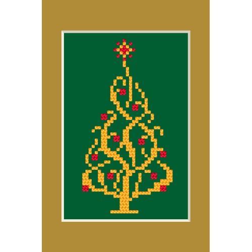 Zestaw z muliną - Kartka świąteczna - Błyszcząca choinka