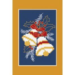 Zestaw z muliną i kartką - Kartka świąteczna – Świąteczne dzwoneczki