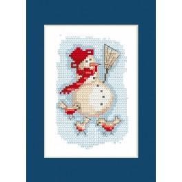 Zestaw z muliną - Kartka świąteczna - Bałwanek
