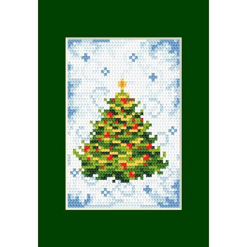 Zestaw z muliną - Kartka świąteczna - Choinka