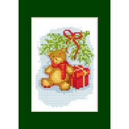 Zestaw z muliną - Kartka świąteczna - Miś