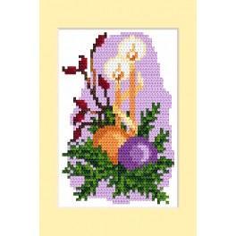 Zestaw z muliną - Kartka świąteczna - Stroik bożonarodzeniowy
