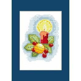 Zestaw z muliną - Kartka świąteczna - Świeca