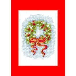 Zestaw z muliną - Kartka świąteczna - Wieniec