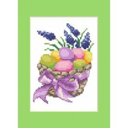 ZU 4916 Zestaw z muliną - Kartka wielkanocna - Wielkanocne pisanki