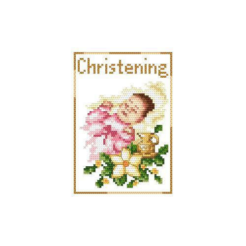 Zestaw z muliną - Kartka - Pamiątka chrztu - Dziewczynka