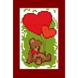 Zestaw z muliną i kartką - Walentynki- Miś i serduszka