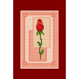 Zestaw z muliną - Kartka - Walentynki - Walentynkowa róża