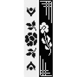 ZU 2297 Zestaw do haftu - Zakładki - Czarne kwiaty