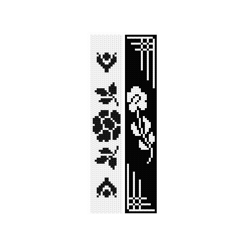 Zestaw z muliną - Zakładki - Czarne kwiaty