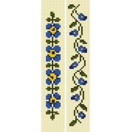 Zestaw z muliną - Zakładki - Błękitne kwiaty