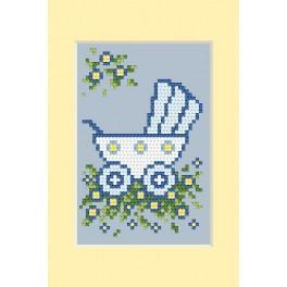 Zestaw z muliną - Kartka - Dzień narodzin - Wózek niebieski
