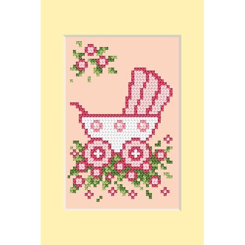Zestaw z muliną - Kartka - Dzień narodzin - Wózek różowy