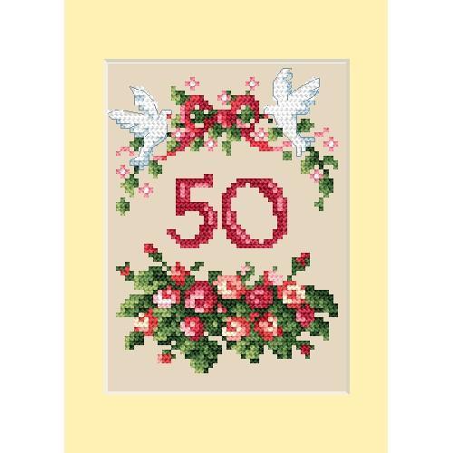 Zestaw z muliną - Kartka rocznicowa - Różyczki