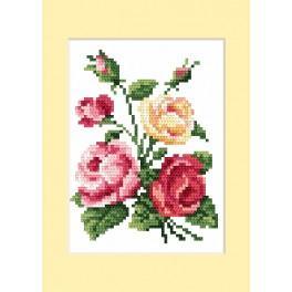 Zestaw z muliną - Kartka urodzinowa - Barwne róże