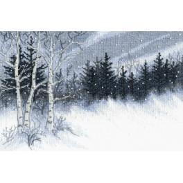 Zestaw z muliną i koralikami - Zimowa noc