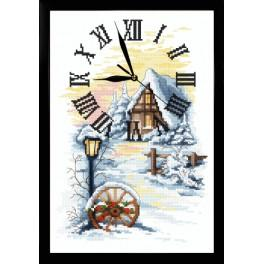 Zestaw z muliną, koralikami, zegarem i ramką - Zimowy zegar