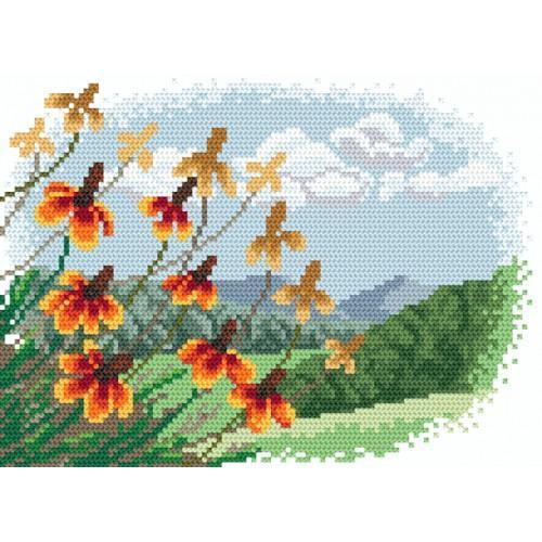 Zestaw z muliną i koralikami - Jesienne kwiaty