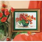 Zestaw z muliną i koralikami - Czewone tulipany