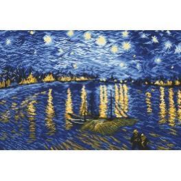 ZI 4337 Zestaw do haftu z muliną i koralikami - Gwiaździsta noc nad Rodanem - V. van Gogh