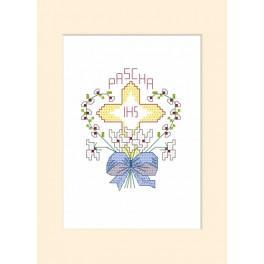 Zestaw z muliną i koralikami - Kartka wielkanocna - Krzyż w sercu