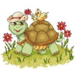 ZI 4929 Zestaw do haftu z muliną i koralikami - Zabawny żółwik