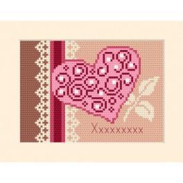 ZI 4955-01 Zestaw do haftu z muliną i koralikami - Kartka zaproszenie - Serce