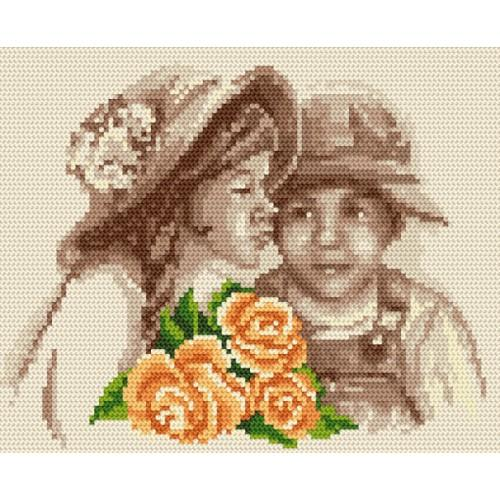 Zestaw z muliną i koralikami - Dzieci z kwiatami