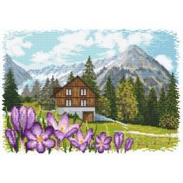 Zestaw z muliną i koralikami - Krokusy w Alpach