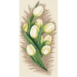 Zestaw z muliną i koralikami - Białe tulipany