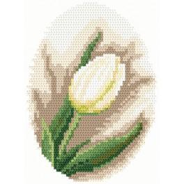 Zestaw z muliną i koralikami - Biały tulipan