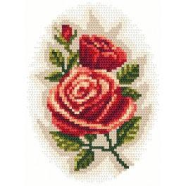 Zestaw z muliną i koralikami - Róże