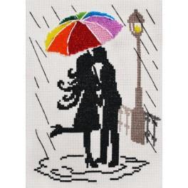 Zestaw z muliną i koralikami - Kolorowa parasolka - Zakochani